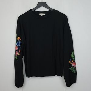 Bleuh Ciel Nwt Black Pullover Embroidered Sleeves